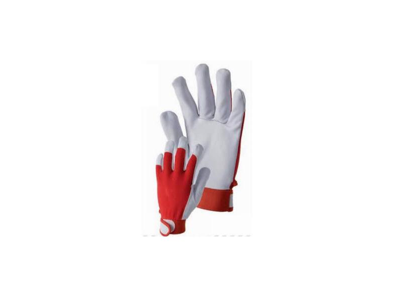 Piros-fehér színkecskebőr sofőrkesztyű L-es méret